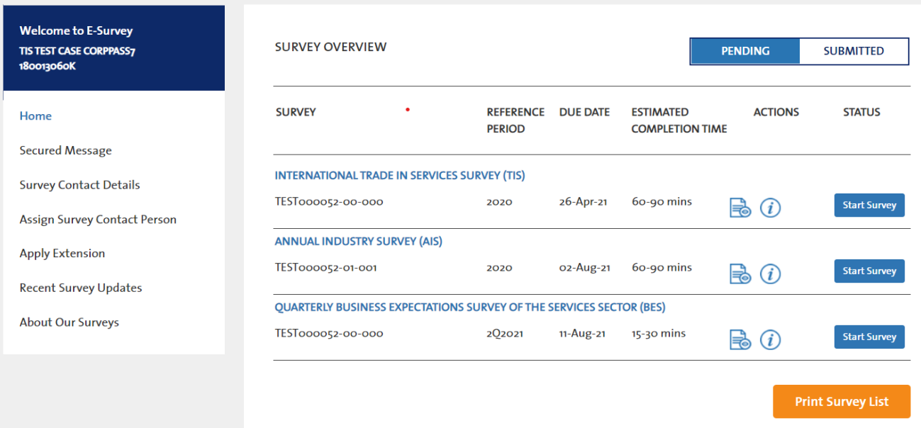 Picture showing list of surveys after login