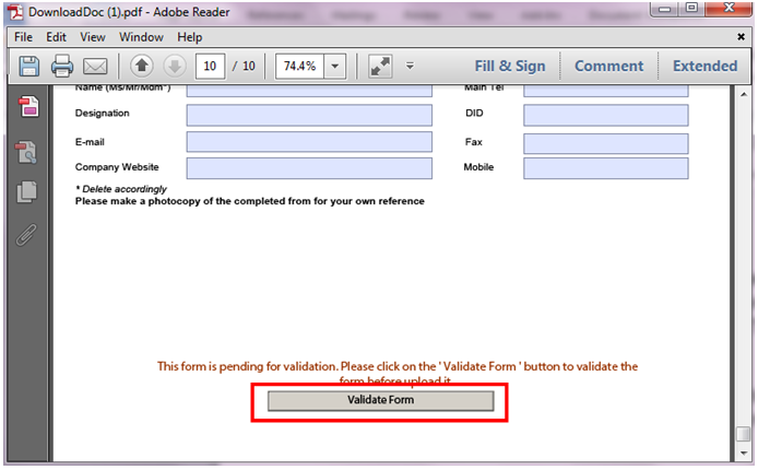 Screen showing how to validate the PDF Form