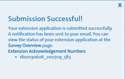Screen showing acknowledgement number for survey extension